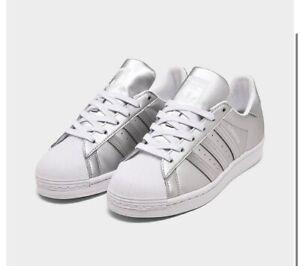 Adidas Womens 7 Superstar Metallic Casual Shoes Silver/White FY1154 040 BNIB