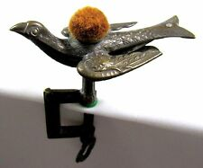 Vintage Victorian Sewing Bird Brass Clamp Pin Cushion Patented 18?? On Wing