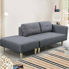 Modern 2 / 3 Seater Small Sofa Couch Grey Fabric & Footstool Cheap
