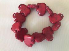 "Red Howlite Turquoise Gemstone Elephant - 6"" Beaded  Stretch Bracelet"