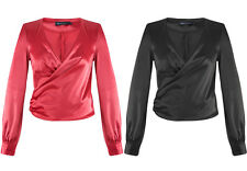 Womens New Long Sleeves Shirt V Neck Silky Red Black Wrap Party Club Blouse 8-16