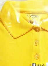 School Uniform Girls 5 L/S Polo Gold French Toast Picot Collar Shirt Blend New