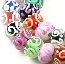 LAMPWORK Glass Colorful Raised Scroll Rondelle (10)