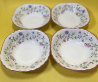 """Johnson Brothers SUMMER CHINTZ 6 1/8"""" Square Soup / Cereal Bowls  (Lot of 4)"""