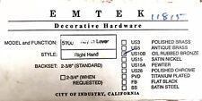 "Emtek 5100 Key in Lever 2 3/8"" Oil Rubbed Bronze Entry Lock & 2 Keys Right Hand"