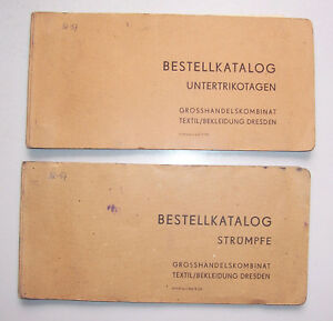 2 X DDR Commande Catalogue Grosshandelskombinat Textile Habits Dresden 1973 (H5