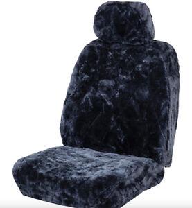 Daewoo Matiz & Musso Sheepskin Seat Cover w Headrest - Charcoal - Air Bag Compat