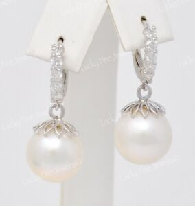 0.76 ct 14k White Gold Natural White South Sea Pearl Diamond Earring lever back