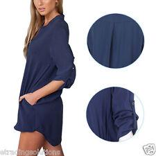 Women Blouse Chiffon Long Sleeve Ladies T Shirt Casual Loose Short Dress Tops Cs