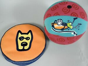 Life is Good Frisbee Style Flying Disc Ball Toy Surfer Dog Logos Canvas Rare HTF