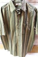 Turnbury Large Green Stripe Cotton Short Sleeve Button Men's Shirt