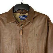 VTG Polo Ralph Lauren Men 44 Chest Butter Leather Brown Flight Bomber Jacket EUC
