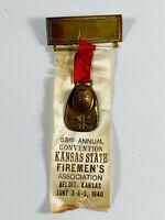 Vintage 1940 Beloit Kansas Fireman's Association Ribbon RARE HELMET convention