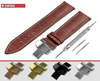 Fits SEIKO Brown Watch Strap Band Genuine Leather For Buckle Clasp 12-24mm Pins