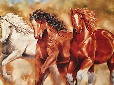"Happy Trails Western Horses Quilt Large Square Cotton 15 1/2"" x 15 3/4"" BIN"