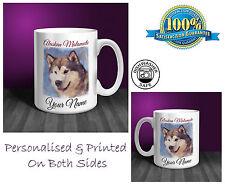 Alaskan Malamute Personalised Ceramic Mug: Perfect Gift. (D253)