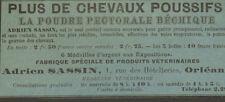 45 ORLEANS POUDRE POUR CHEVAUX ADRIEN SASSIN PUBLICITE 1904