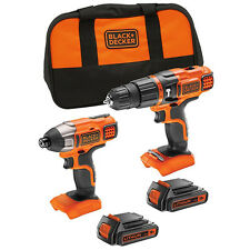 BLACK & DECKER COMBI / IMPACT DRIVER TWIN KIT 18 VOLT 18V 2 X 1.5AH LI-ION BATTS