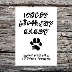 funny cute birthday card - happy birthday daddy from the dog thank you pawprint