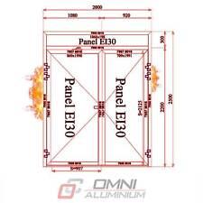 Brandschutz Aluminiumtüre, T30 = Ei30, Brandschutztür PE78EI, 2000 mm x 2500 mm