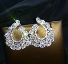 18k White Gold Cuff Earrings made w/ Swarovski Crystal Big Bling Stone Gorgeous