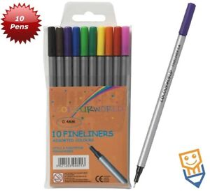 FINELINER FIBRE TIP ART PENS 0.4mm Fine Tip Nib 10 ASSORTED COLOURS Colourworld