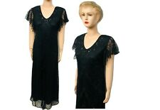 New Ladies Black  Sequin Beaded Vintage Evening Party Long Dress UK Size 10 - 30