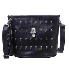 Womens Messenger Faux Leather Rivet Skull Bag Shoulder Bag Crossbody Bag Satchel