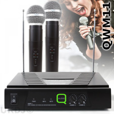 Q-Audio QWM11 Twin VHF (174.1 & 174.5) Wireless Radio Microphone System inc Case