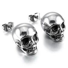 Mendino Men's 316l Stainless Steel Stud Earrings Skull Gothic Biker Silver Tone