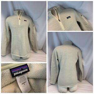 Patagonia Fleece Pullover M Women Beige Poly ¼ Zip Mint Cond YGI B1-451