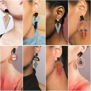 Fashion Boho Resin Acrylic Geometric Statement Earrings Hoop Dangle Hook Party