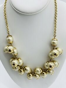 J Crew Faux Pearl Bauble Cluster Beaded Gold Tone Chain Statement Necklace