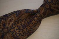 Polo Ralph Lauren Brown Blue Paisley 100% Silk Made by Hand Tie BRAND NEW