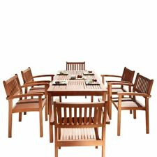 VIFAH Malibu V98SET10 Outdoor Dining Table with 6 Stacking Chairs