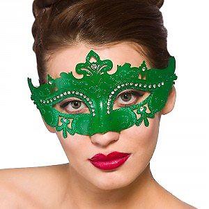 Demonte Masquerade Mask Fancy Dress Ball Burlesque Carnival Green Adult 9954G