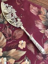 Silver Plated Ornate Fish Serving Knife Or Pastry Server Pierced No Markings
