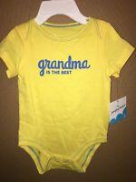 NWT Sz 3 Months Jumping Beans Yellow *Grandma is the Best* Short Sleeve Bodysuit
