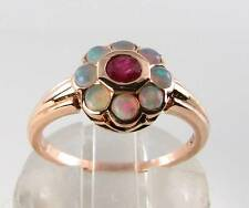 LUSH 9CT 9K ROSE GOLD INDIAN RUBY & OPAL DAISY ART DECO INS RING FREE RESIZE