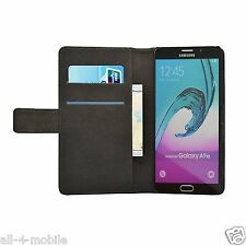 Wallet Black Leather Flip Case Cover for Samsung Galaxy A9 (2016) 2 Protectors