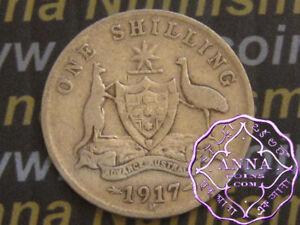 Australia 1917 George V Shilling X1, Average Circulated Condition
