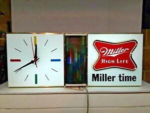 Vintage Miller High Life Lighted Beer Sign Clock Bar Disco Style Works Great