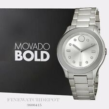 Authentic Movado Bold Women's Sport Silver Dial Stainless Steel Watch 3600415