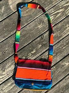 Mexican Serape Sarape Messenger Bag Rainbow Button CrossBody 16x10x3 004