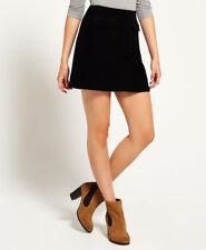 Superdry Black Corduroy Stretch Cord a Line Skirt - Size XS 6 8