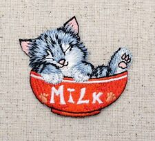 Cat/Kitten Sleeping - Red Milk Bowl/Pets - Iron on Applique/Embroidered Patch