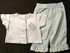 Girl's Size 6-9 M Months 2 Pc Outfit Blue Floral Rumble Tumble Top, Blue Pants