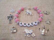 Personalised Girls Charm Bracelet..Party Bag Filler..Birthday..Christmas..Gift