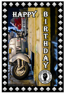 NORTHERN SOUL BIRTHDAY CARD (SCOOTER) - GLOSS FINISH - BRAND NEW