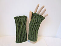 Crochet Fingerless Gloves~Adult Size~ Color is Medium Green